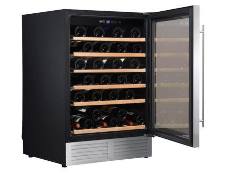 Climadiff-wijnkoelkast-inbouw-onder-werkblad-met-glazen-deur-1-zone-CLE51-51-flessen-ean-3595320102949